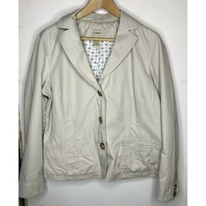 Ll Bean Womens Casual Jacket Size 16 Tan Button